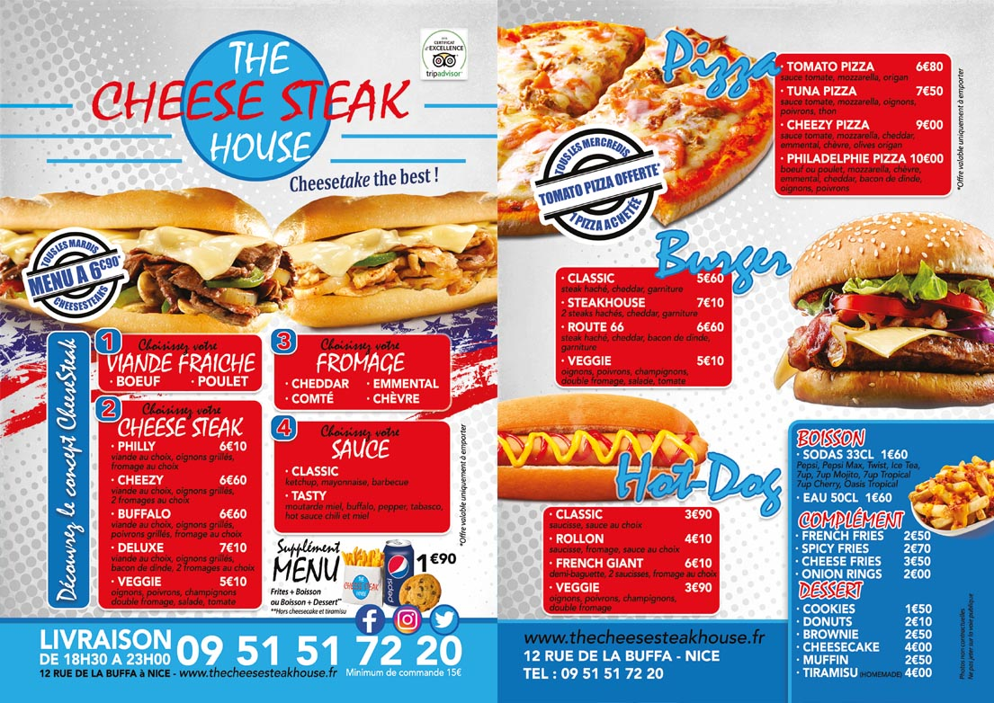 CARTE 2017 THE CHEESE STEAK HOUSE